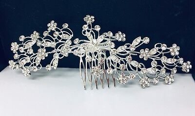 Large Princess Wedding Hair Comb in Silver Colour with Rhinestones