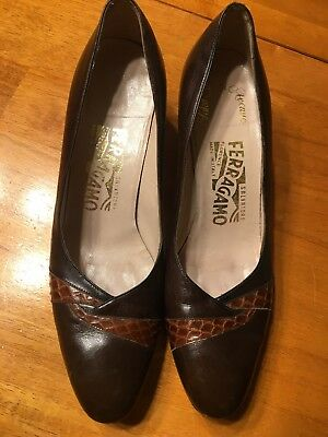 b0757c63b13 Salvatore Ferragamo Saks Fifth Avenue Brown Pumps Heels Straps Size 7 AA