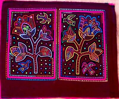 Kuna Indian Art. Hand Stitch. DETAILED FLOWERS -487. Mola Art of Panama.