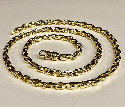 "14kt Solid Yellow Gold Handmade ROLO Cable Link Chain/Necklace 26"" 72 grms 5.2MM"