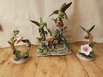 Lot of 3 Hummingbird Collection Andrea by Sadek Porcelain Figurines