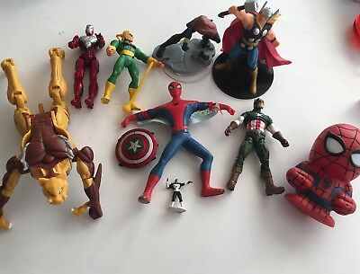 Mixed Lot Of 10 Marvel Action Figures Spider-Man Ironman Thor Captain America