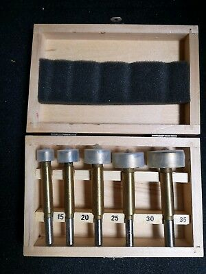 CARB-I-TOOL 5pce FORSTNER DRILL BIT SET IN WOODEN BOX