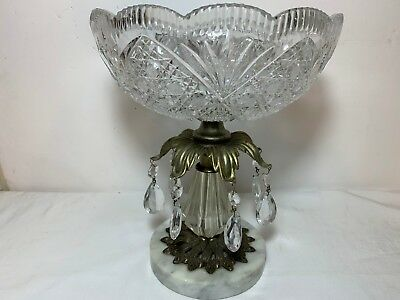 Vintage Cut Crystal Round Compote Bowl~Brass/Acrylic Pedestal~Prisms~Marble Base