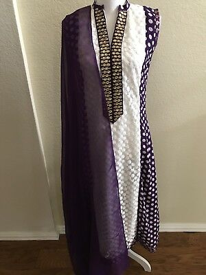 Purple and White Georgette Lace Pant Suit Free Shipping