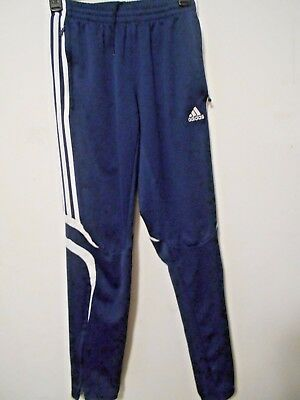 Adidas Boys Sz. L Navy Blue Warm-up Pants, White Trim, Zip at Legs, Pockets, NEW