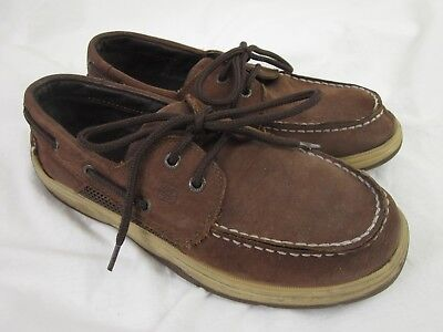 2e87b5489b4 Youth Boys Size 4.5 M Intrepid Brown Leather Sperry Top-Sider Boat Shoes