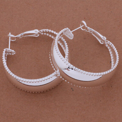 Womens 925 Sterling Silver Elegant 35mm Round Shape Vogue Hoop Earrings #E306