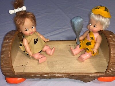 Ideal Toy 1965 Pebbles & Bamm Bamm Dolls with Rare Pebbles Cradle- no bedding