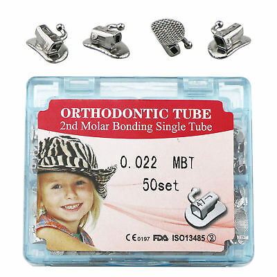 1Box Dental 2nd Molar Orthodontic Split Buccal Tube Bonding 022 MBT Single 50Set