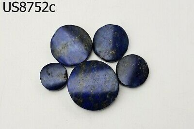 Lot 5 Ancient Egypt Style BRIGHT BLUE Lapis w/Pyrite Carved Coin Beads #8752