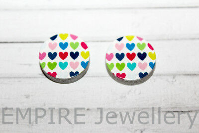 2 x Colourful Hearts Pattern Wooden Laser Cut Flatback 16x16mm Cabochon Love