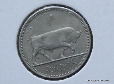 Ireland Republic 1964 Shilling Bull Circulated With Lustre Condition #bl79
