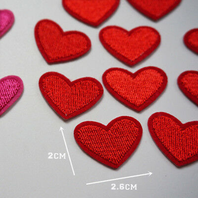 10 Rotes Herz Aufnäher Aufbügler hearts patch Bügelbild Kinder Poker Applikation