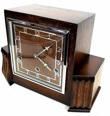 Art Deco Perivale Walnut Westminster Chiming Mantle Clock