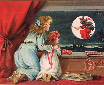 Vintage Tuck's Halloween Postcard No 150: Mother & Child Watch Witch Fly by MOON