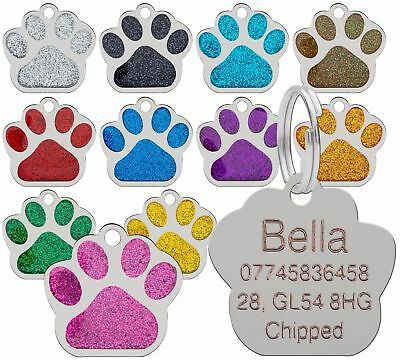 50 x Dog Cat Pet Tag ID Collar Tags Personalised Engraved 27mm Glitter Paw Print