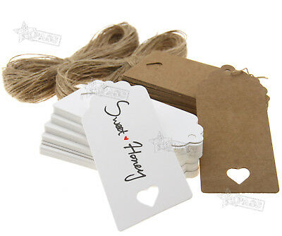 100pcs 9x4CM Kraft Paper Hang Tags Gift Price Lables & 20m String Brown White
