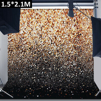 Glitter Black Gold Dots Thin Vinyl Photography Backdrop Background Studio Photo