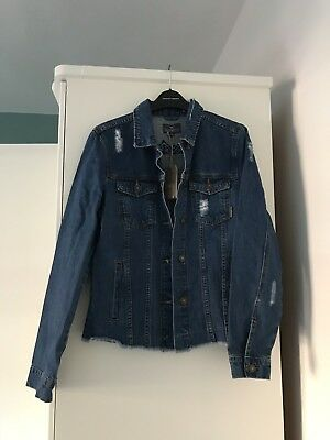 Gandy's Denim Jacket Size 10 Navy Blue Embroidered Festival Ripped Ladies Womens