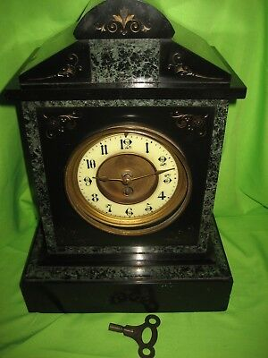 ANTIQUE FRENCH BLACK SLATE and MARBLE MANTLE CLOCK COLLECTABLE