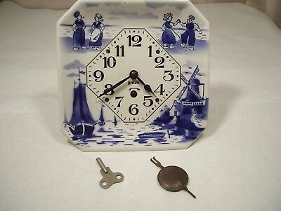 Vintage Porcelain German 8 Day Wind Up Kitchen Wall Clock with Key and Pendulum