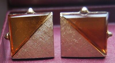 Vintage 1970s Pair of Amber Glass Gold Plated Cufflinks