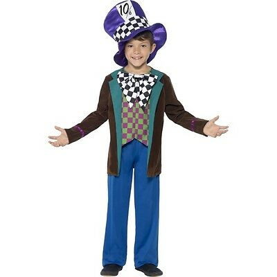 Boy's Deluxe Mad Hatter Fancy Dress Costume World Book Day Tea Party Wonka Fun