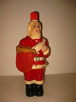 Antique Christmas Noel Santa Claus Figural Figure Liquor Empty Glass Bottle 1950