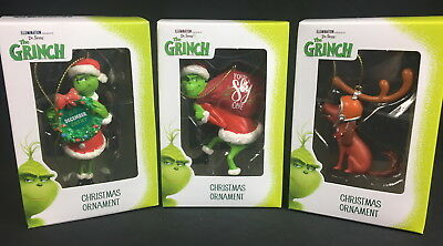 Dr. Seuss The Grinch Christmas Ornaments by Illumination (Universal) Set of 3