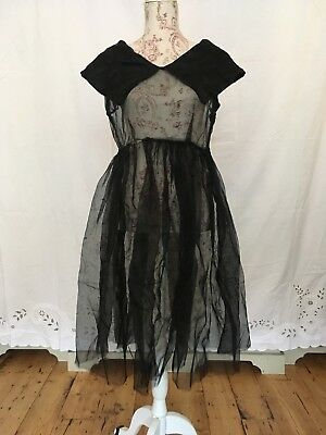 Black velvet burnout silk organza 1940s / 50s sailor bib dress gown witchy sheer