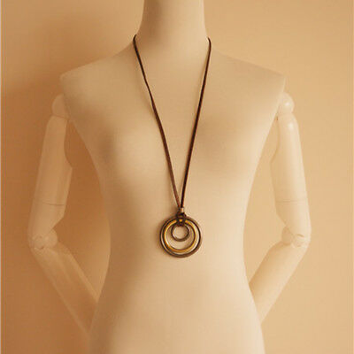Vintage 3 Ring Circle Pendant Sweater Necklace With Brown Leather Long Chain