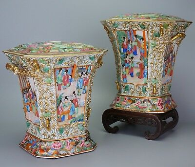Beautiful Two Chinese Canton Famille Rose Porcelain Vases Bough Pots and Covers