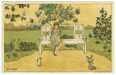 Art: Bep Jordens. Young Girl on a Garden Seat with Her Doll & Puppy Dog. 1920