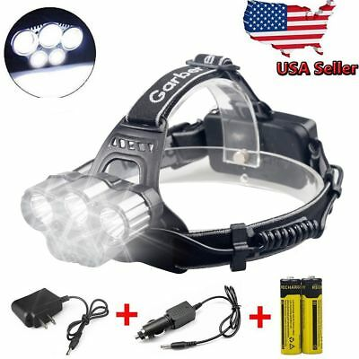150000LM 5LED Headlamp Headlight Rechargeable Head Light +Charger +18650 Battery