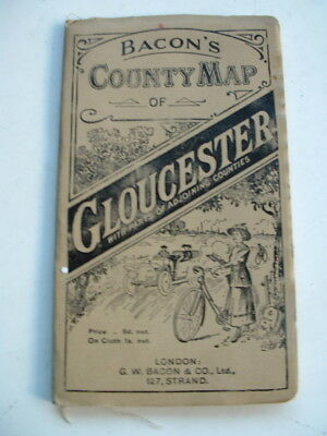 ANTIQUE BACONS COUNTY MAP of GLOUCESTERSHIRE BRISTOL CHELTENHAM etc
