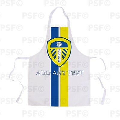 Leeds United FC Official Personalised Crest with Stripes Showerproof Apron LA001