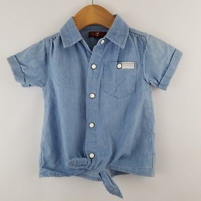 7 For All Mankind Snap Front Tie Chambray Short Sleeve Shirt Size 24 Months