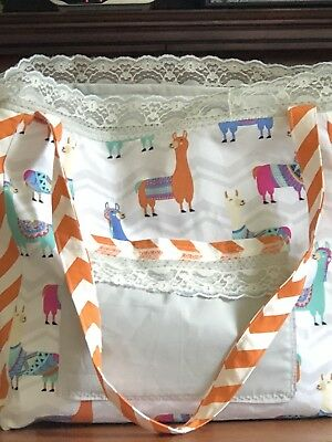 "Bassinet In A Bag ""Llamas N Lace "" Fits Up To 16 In Doll"