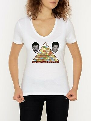Ron Swanson Pyramid Of Greatness Woman's T Shirt V-Neck White (S-2XL)