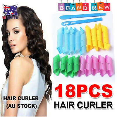 18Pcs No Heat Leverage Curlers Formers Spiral Styling Rollers Magic Hair Curler