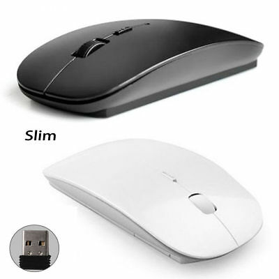 Slim 2.4GHz Optical Wireless Mouse USB Receiver for Laptop PC Black / White