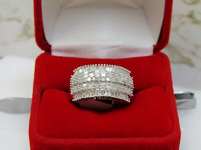 Genuine 1.5 Carat Round And Baguette Diamond Ring Silver Sz 7 Natural Real