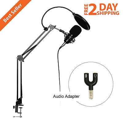 Professional 3.5 MM Condenser Microphone Plug And Play Home Studio Podcast