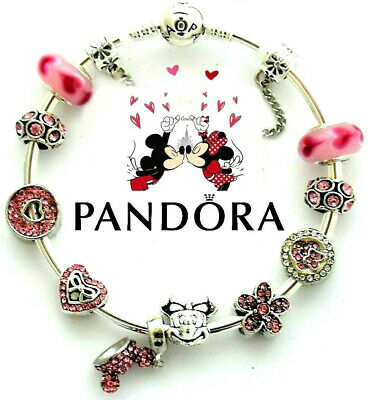 Disney Pandora Charm Bracelet Silver with Pink Minnie Mickey European Charms New