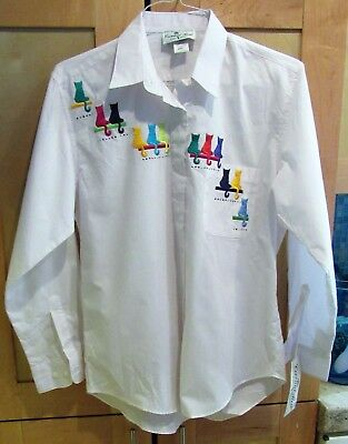 Anthony's Button Down Cotton Shirt - Womens Multi Colored Cats New w Tags Sz Sm