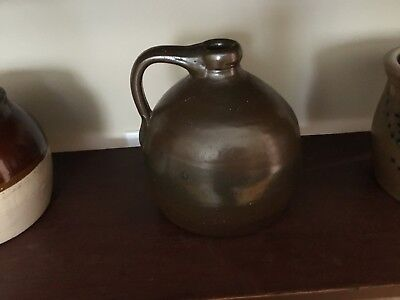 Primitive Antique Brown Stoneware Jug / Moonshine Style