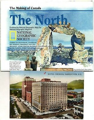 """CANADA: one 1937 postcard & a map """"The Making of Canada: THE NORTH"""""""