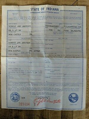 1964 Ford F100 Title Historical Document