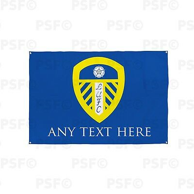 Leeds United FC Official Personalised Single Crest Blue Fabric Flag Banner LB001